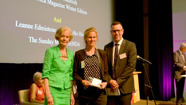 OPSO Media Awards Winner 2015-Eadie Hancock, Dame Quentin Bryce & Daniel Aitchison TriCare